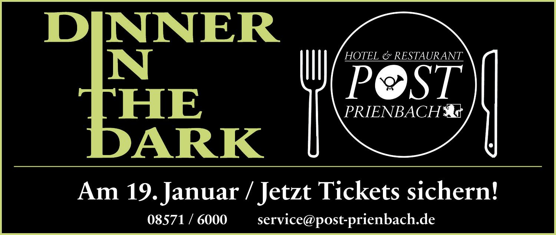 Jetzt Tickets für das DINNER IN THE DARK sichern!