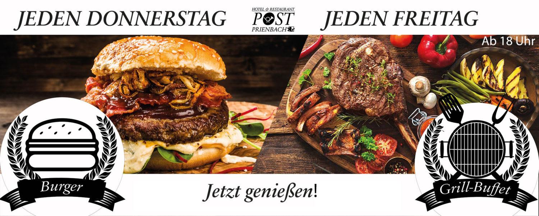 Jetzt jeden Donnerstag Burger & jeden Freitag Grill-Buffet